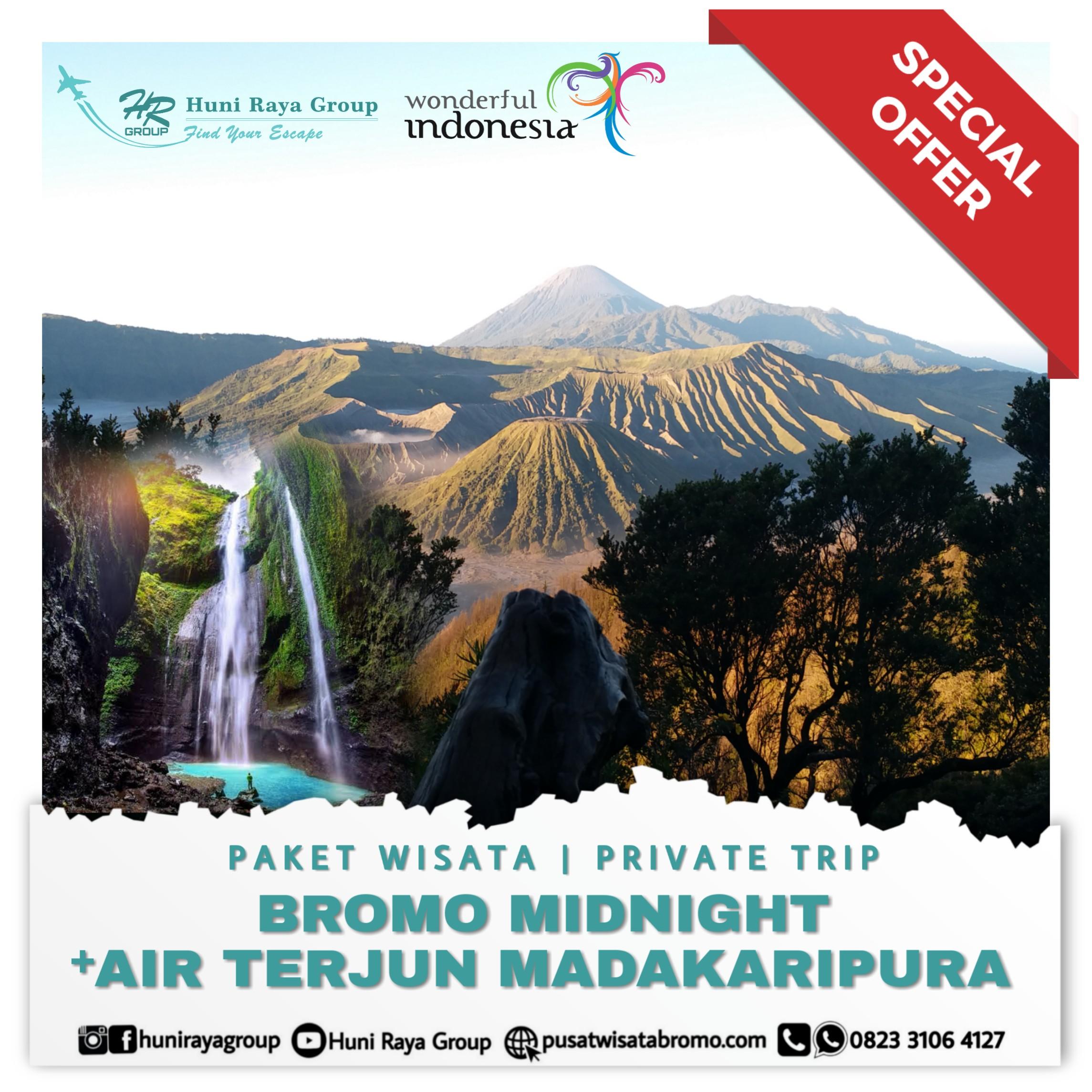 paket wisata bromo midnight dan air terjun madakaripura dari malang atau surabaya terbaru